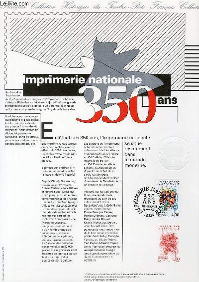 DOCUMENT PHILATELIQUE OFFICIEL N°14-91 - IMPRIMERIE NATIONALE 350 ANS (N°2691 YVERT ET TELLIER)