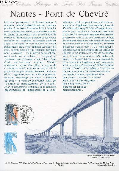 DOCUMENT PHILATELIQUE OFFICIEL N°19-91 - NANTES PONT DE CHEVIRE (N°2704 YVERT ET TELLIER)