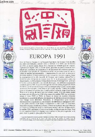 DOCUMENT PHILATELIQUE OFFICIEL N�20-91 - EUROPA 1991(N�2696-97 YVERT ET TELLIER)