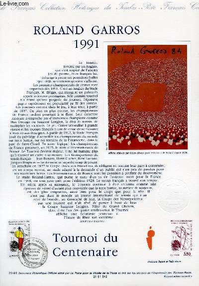 DOCUMENT PHILATELIQUE OFFICIEL N°22-91 - ROLAND GARROS 1991 (N°269 YVERT ET TELLIER)