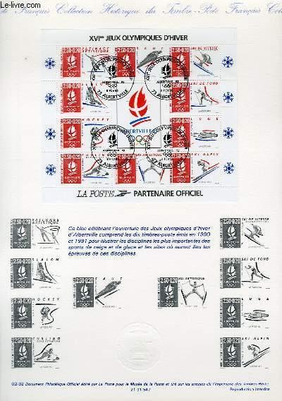 DOCUMENT PHILATELIQUE OFFICIEL N°02-92 - BLOC-FEUILLE 16° JEUX OLYMPISUQES D'HIVER (N°BF 4 YVERT ET TELLIER)