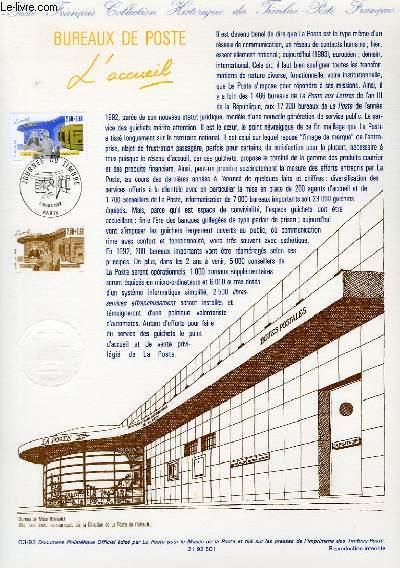 DOCUMENT PHILATELIQUE OFFICIEL N°03-92 - JOURNEE DU TIMBRE - BUREAUX DE POSTE - L'ACCUEIL (N°2743 YVERT ET TELLIER)