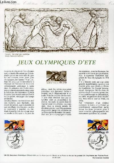 DOCUMENT PHILATELIQUE OFFICIEL N°04-92 - JEUX OLYMPIQUES D'ETE (N°2745 YVERT ET TELLIER)