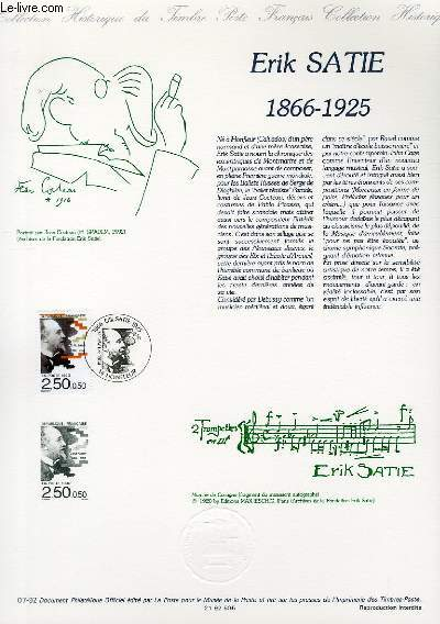 DOCUMENT PHILATELIQUE OFFICIEL N°07-92 - ERIK SATIE 1866-1925 (N°2748 YVERT ET TELLIER)