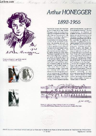 DOCUMENT PHILATELIQUE OFFICIEL N�09-92 - ARTHUR HONEGGER 1892-1955 (N�2750 YVERT ET TELLIER)