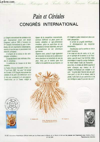 DOCUMENT PHILATELIQUE OFFICIEL N°15-92 - PAIN ET CEREALES CONGRES INTERNATIONAL (N°2757 YVERT ET TELLIER)