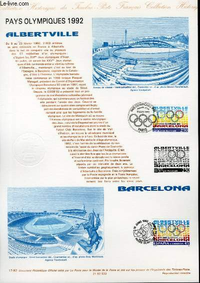 -DOCUMENT PHILATELIQUE OFFICIEL N°17-92 - PAYS OLYMPIQUES 1992 - ALBERTVILLE - BARCELONA (N°2760 YVERT ET TELLIER)