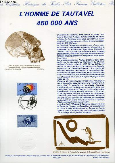 DOCUMENT PHILATELIQUE OFFICIEL N°18-92 - L'HOMME DE TAUTAVEL 450 000 ANS (N°2759 YVERT ET TELLIER)