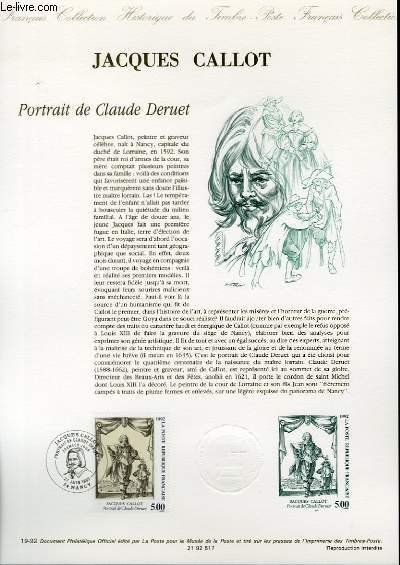 DOCUMENT PHILATELIQUE OFFICIEL N°19-92 - JACQUES CALLOT - PORTRAIT DE CLAUDE DERUET (N°2761 YVERT ET TELLIER)