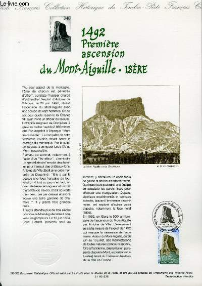 DOCUMENT PHILATELIQUE OFFICIEL N�20-92 - 1492 - PREMIERE ASCENSION DU MONT AIGUILLE - ISERE (N�2762 YVERT ET TELLIER)