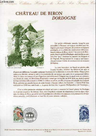 DOCUMENT PHILATELIQUE OFFICIEL N°22-92 - CHATEAU DE BIRON DORDOGNE (N°2763 YVERT ET TELLIER)