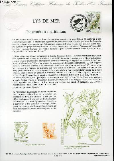 DOCUMENT PHILATELIQUE OFFICIEL N�23-92 - LYS DE MER - PANCRATIUM MARITIMUM (N�2766 YVERT ET TELLIER)