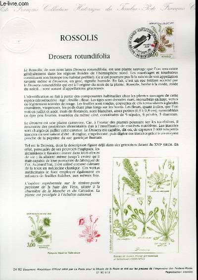 DOCUMENT PHILATELIQUE OFFICIEL N�24-92 - ROSSOLIS - DROSERA ROTUNDIFOLIA (N�2767 YVERT ET TELLIER)