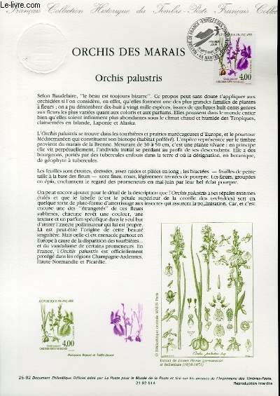 DOCUMENT PHILATELIQUE OFFICIEL N�25-92 - ORCHIS DES MARAIS - ORCHIS PALUSTRIS (N�2768 YVERT ET TELLIER)