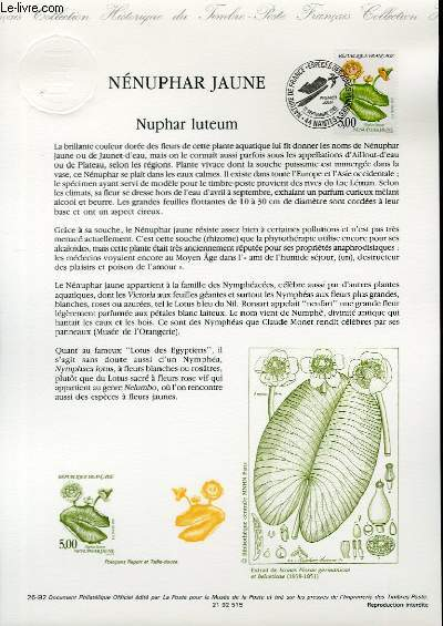 DOCUMENT PHILATELIQUE OFFICIEL N�26-92 - NENUPHAR JAUNE - NUPHAR LUTEUM (N�2769 YVERT ET TELLIER)