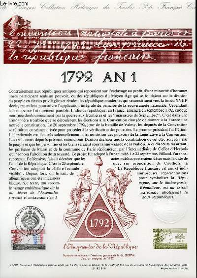 DOCUMENT PHILATELIQUE OFFICIEL N°27-92 - 1792 AN 1 (N°2771 YVERT ET TELLIER)