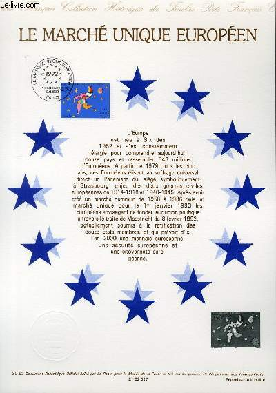 DOCUMENT PHILATELIQUE OFFICIEL N�30-92 - LE MARCHE UNIQUE EUROPEEN (N�2776 YVERT ET TELLIER)