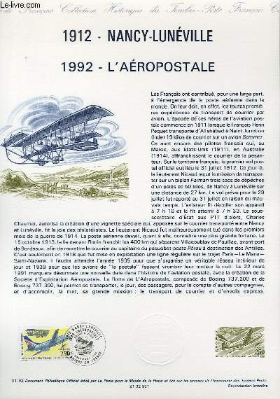 DOCUMENT PHILATELIQUE OFFICIEL N°31-92 - 1912 - NANCY-LUNEVILLE - 1992 - L'AEROPOSTALE (N°2778 YVERT ET TELLIER)