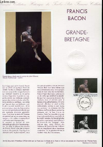 DOCUMENT PHILATELIQUE OFFICIEL N°35-92 - FRANCIS BACON - GRANDE BRETAGNE (N°2779 YVERT ET TELLIER)