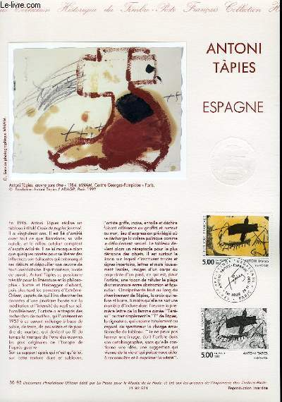 DOCUMENT PHILATELIQUE OFFICIEL N�36-92 - ANTONI TAPIES - ESPAGNE (N�2782 YVERT ET TELLIER)