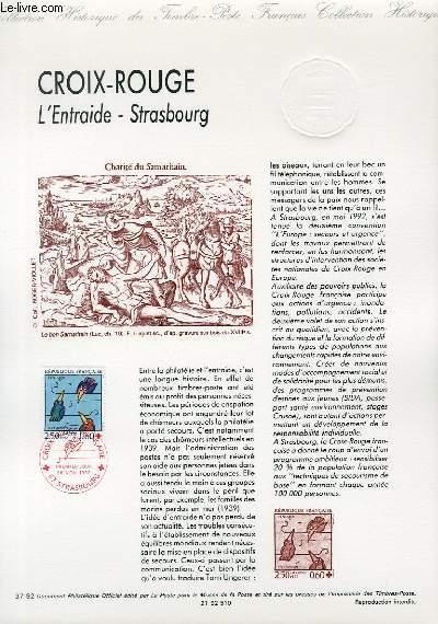 DOCUMENT PHILATELIQUE OFFICIEL N°37-92 - CROIX ROUGE - L'ENTRAIDE STRASBOURG (N°2783 YVERT ET TELLIER)