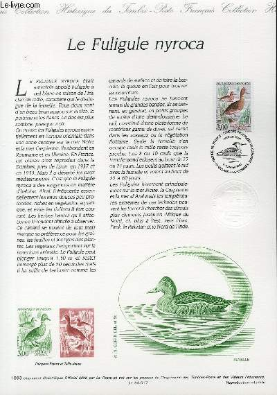 DOCUMENT PHILATELIQUE OFFICIEL - LE FULIGULE NYROCA (N°2786 YVERT ET TELLIER)