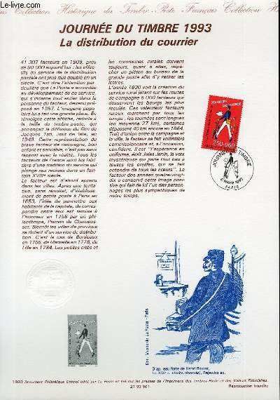 DOCUMENT PHILATELIQUE OFFICIEL - JOURNEE DU TIMBRE 1993 - LA DISTRIBUTION DU COURRIER (N�2792 YVERT ET TELLIER)