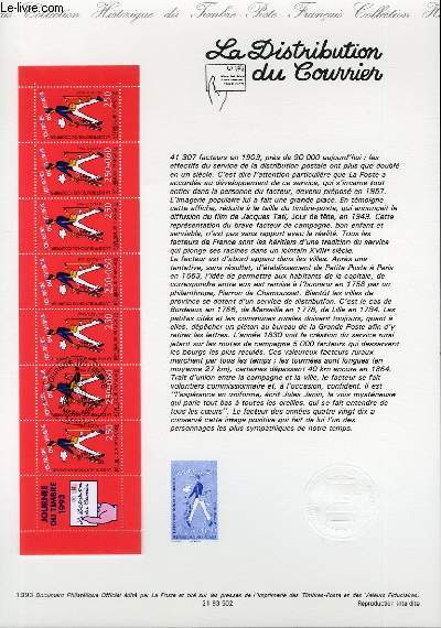 DOCUMENT PHILATELIQUE OFFICIEL - CARNET JOURNEE DU TIMBRE - LA DISTRIBUTION DU COURRIER (N°2794 YVERT ET TELLIER)
