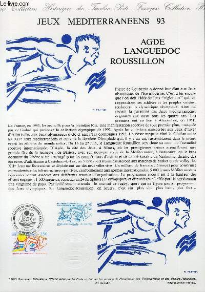 DOCUMENT PHILATELIQUE OFFICIEL - JEUX MEDITERRANEEN 93 - AGDE LANGUEDOS ROUSSILLON (N°2795 YVERT ET TELLIER)