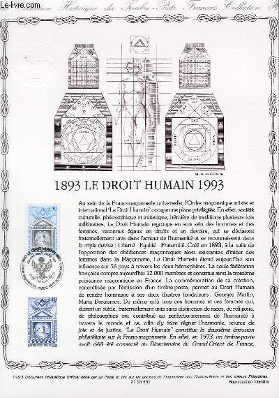 DOCUMENT PHILATELIQUE OFFICIEL - 1893 LE DROIT HUMAIN 1993 (N°2796 YVERT ET TELLIER)