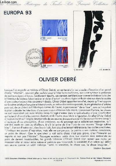 DOCUMENT PHILATELIQUE OFFICIEL - EUROPA 93 - OLIVIER DEBRE (N°2797 YVERT ET TELLIER)