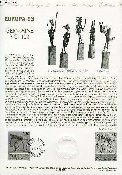 DOCUMENT PHILATELIQUE OFFICIEL - EUROPA 93 - GERMAINE RICHIER (N°279 YVERT ET TELLIER)