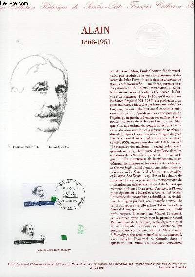 DOCUMENT PHILATELIQUE OFFICIEL - ALAIN 1868-1951 (N°2800 YVERT ET TELLIER)