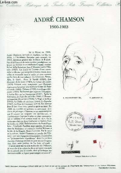 DOCUMENT PHILATELIQUE OFFICIEL - ANDRE CHAMSON 1900-1983 (N°2803 YVERT ET TELLIER)