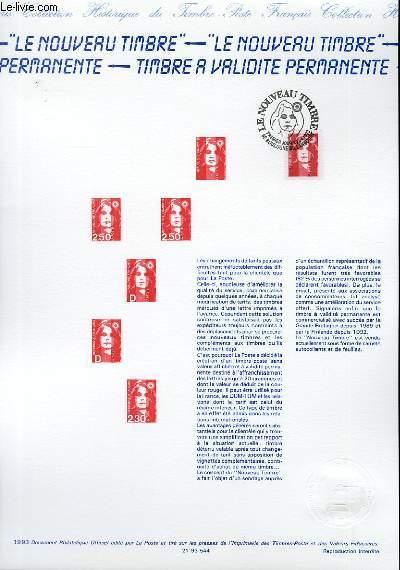 DOCUMENT PHILATELIQUE OFFICIEL - LE NOUVEAU TIMBRE - MARIANE DE BICENTENAIRE, TIMBRE A VALIDIDE PERMANENTE (N°2806 YVERT ET TELLIER)