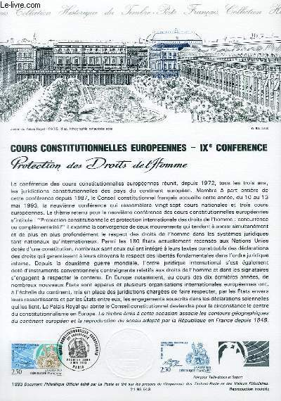 DOCUMENT PHILATELIQUE OFFICIEL - COURS CONSTITUTIONNELLES EUROPEENNES - 9° CONFERENCE - PROTECTION DES DROITS DE L'HOMME (N°2808 YVERT ET TELLIER)