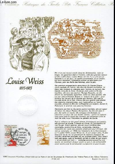 DOCUMENT PHILATELIQUE OFFICIEL - LOUIS WEISS 1893-1983 (N°2809 YVERT ET TELLIER)