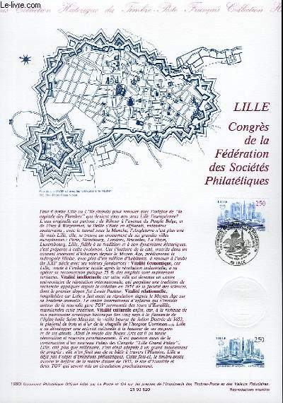 DOCUMENT PHILATELIQUE OFFICIEL - LILLE CONGRES DE LA FEDERATION DES SOCIETES PHILATELIQUES (N°2811 YVERT ET TELLIER)