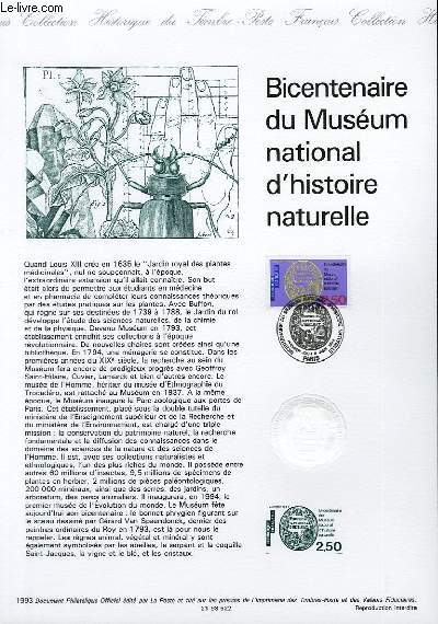 DOCUMENT PHILATELIQUE OFFICIEL - BICENTENAIRE DU MUSEUM NATIONAL D'HISTOIRE NATURELLE (N°2812 YVERT ET TELLIER)