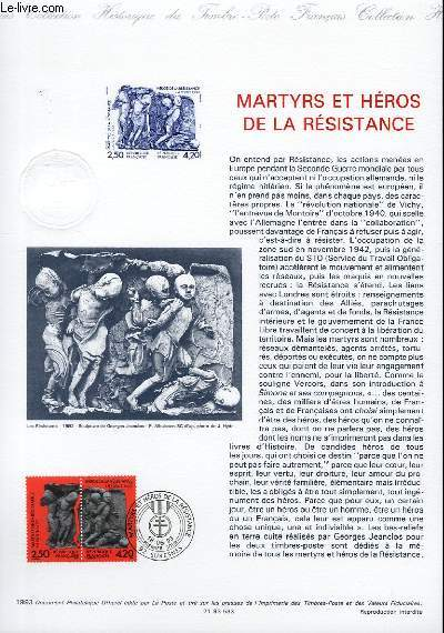 DOCUMENT PHILATELIQUE OFFICIEL - MARTYRS ET HEROS DE LA RESISTANCE (N°2813A YVERT ET TELLIER)