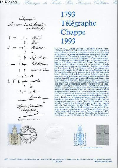 DOCUMENT PHILATELIQUE OFFICIEL - 1793 TELEGRAPHE CHAPPE 1993 (N°2815 YVERT ET TELLIER)