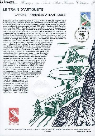 DOCUMENT PHILATELIQUE OFFICIEL - LE TRAIN D'ARTOUSTE - LARUNS - PYRENEES-ATLANTIQUES (N°2816 YVERT ET TELLIER)