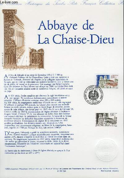 DOCUMENT PHILATELIQUE OFFICIEL - ABBAYE DE LA CHAISE-DIEU (N°2825 YVERT ET TELLIER)