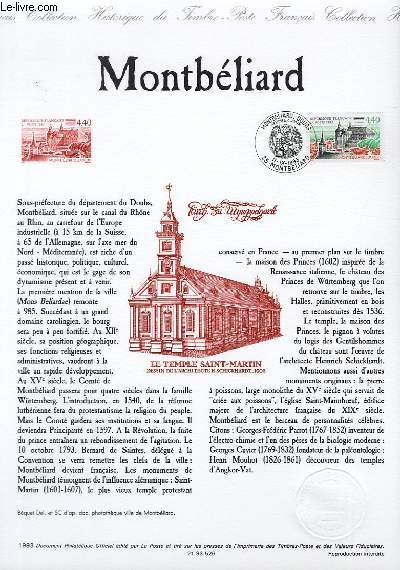 DOCUMENT PHILATELIQUE OFFICIEL - MONTBELIARD (N�2826 YVERT ET TELLIER)