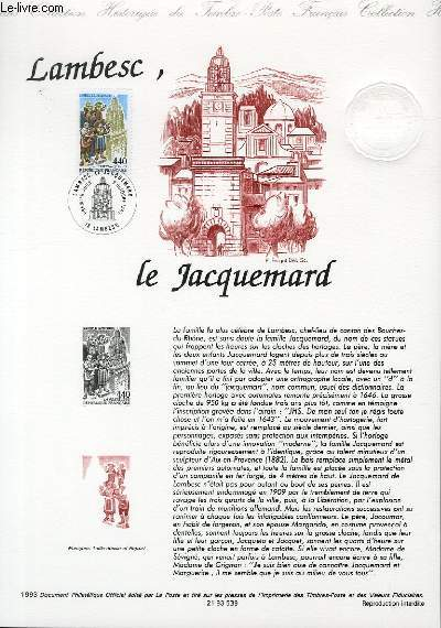 DOCUMENT PHILATELIQUE OFFICIEL - LAMBESC, LE JACQUEMARD (N�2827 YVERT ET TELLIER)