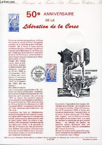 DOCUMENT PHILATELIQUE OFFICIEL - 50� ANNIVERSAIRE DE LA LIBERATION DE LA CORSE (N�2829 YVERT ET TELLIER)