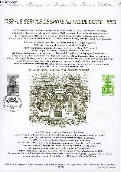 DOCUMENT PHILATELIQUE OFFICIEL - 1793 LE SERVICE DE SANTE AU VAL DE GRACE 1993 (N�2830 YVERT ET TELLIER)