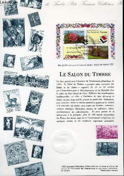 DOCUMENT PHILATELIQUE OFFICIEL - LE SALON DU TIMBRE (N°BF 5 YVERT ET TELLIER)