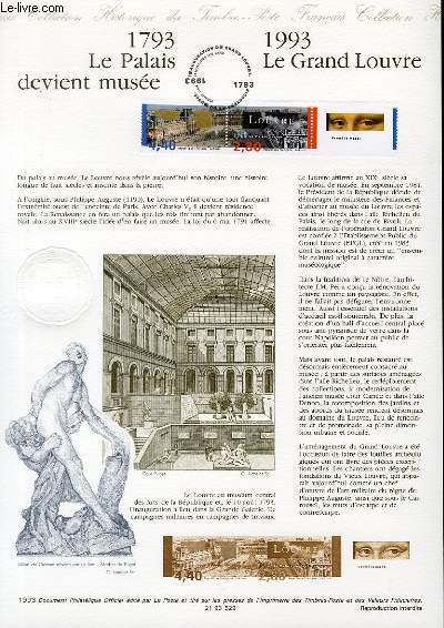 DOCUMENT PHILATELIQUE OFFICIEL - 1793 LE PALAIS DEVIENT MUSEE - 1993 LE GRAND LOUVRE (N�2852A YVERT ET TELLIER)