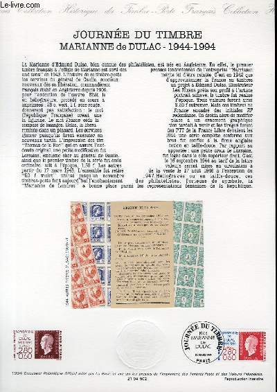 DOCUMENT PHILATELIQUE OFFICIEL - JOURNEE DU TIMBRE - MARIANNE DE DULAC 1944-1994 (N°2863 YVERT ET TELLIER)